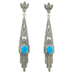 Art Deco Turquoise Silver Marcasite Earrings