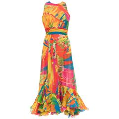 Bill Blass Sleeveless Cotton Voile Abstract Print Evening Dress, Circa 1970's