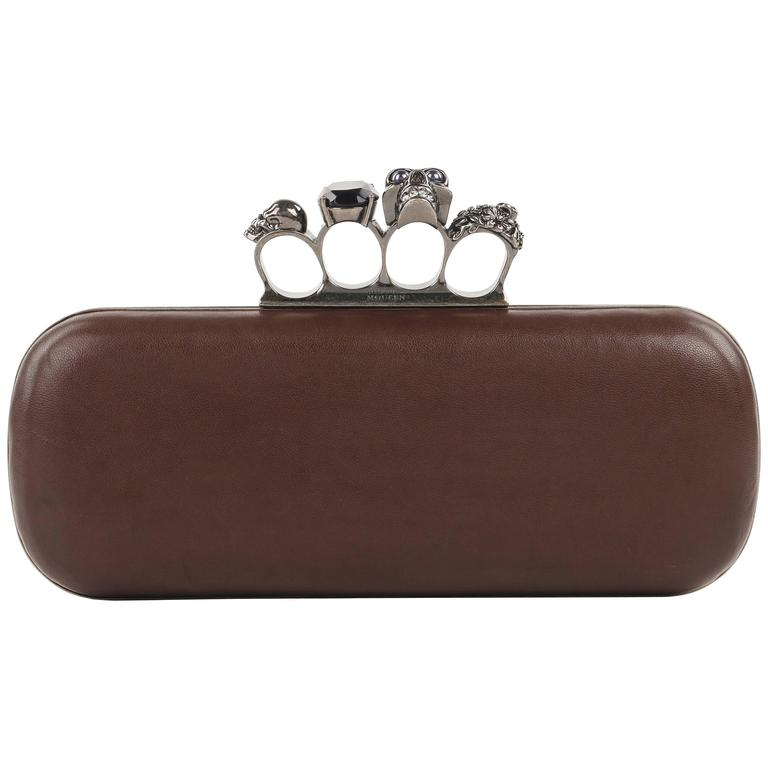 ALEXANDER McQUEEN S/S 2010 Brown Leather Long Skull Knuckle Duster Box Clutch