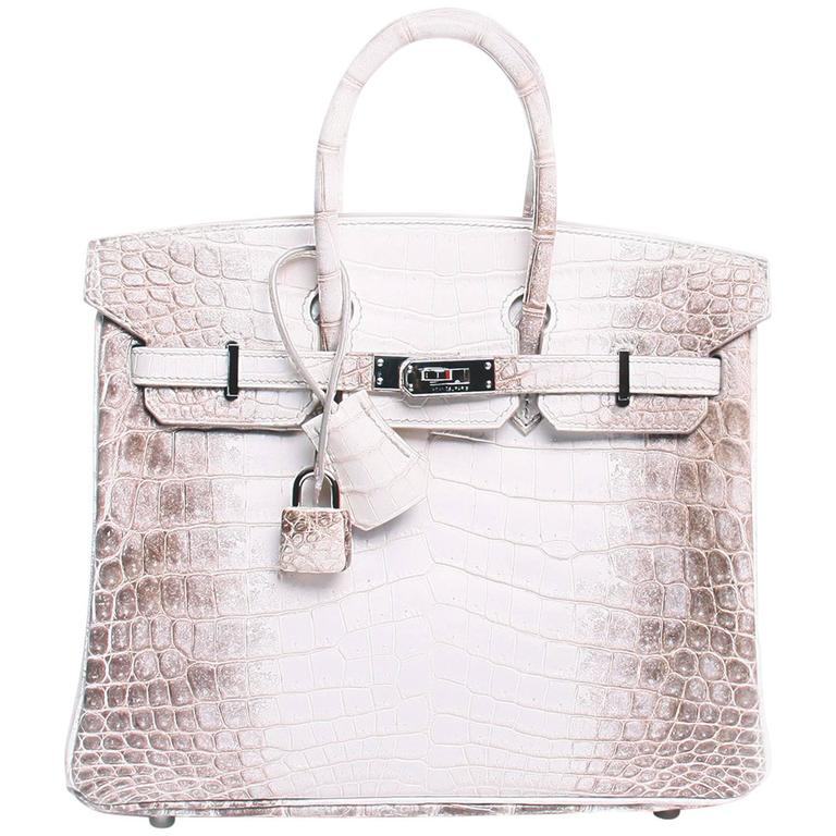fe95cd3fe89 Hermes 25cm Matte Blanc White Himalayan Nilo Crocodile Birkin Bag For Sale