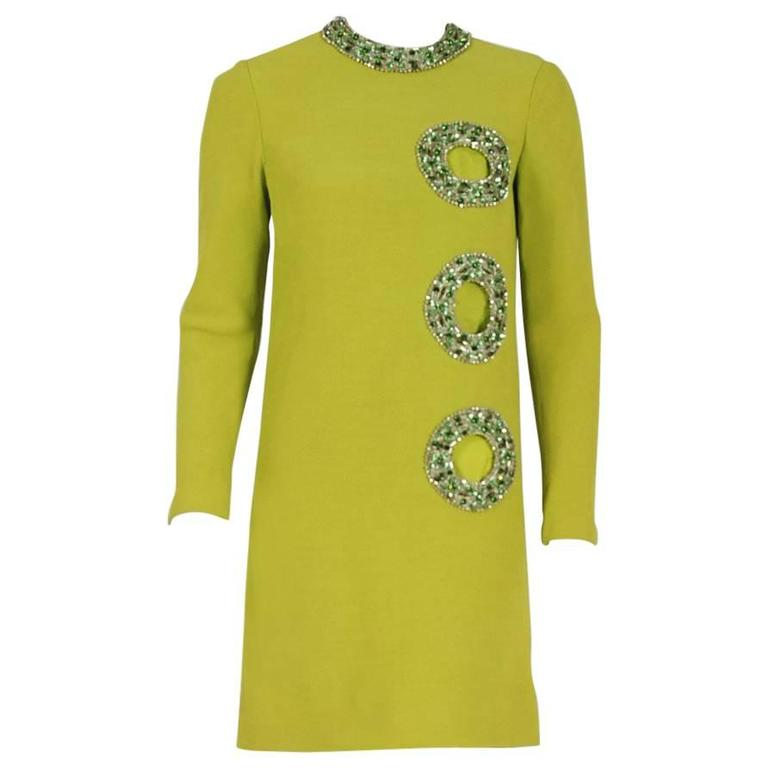Pierre Cardin Chartreuse Green Silk Cut-Out Beaded Circles Cocktail Dress, 1967