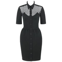 THIERRY MUGLER S/S 1985 Black Cotton Button Front Illusion Shirt Dress