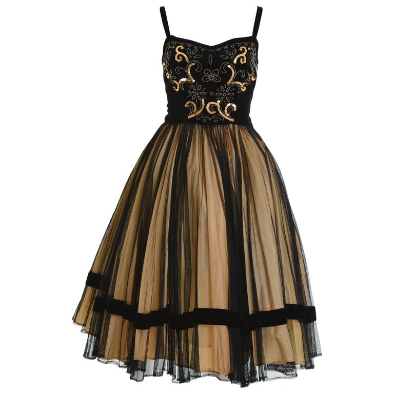 1950s Vintage Black and Gold Embroidered Cocktail Dress For Sale