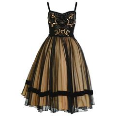 1950s Vintage Black and Gold Embroidered Cocktail Dress