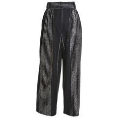 1980s GIANNI VERSACE Black Striped Cotton Pants