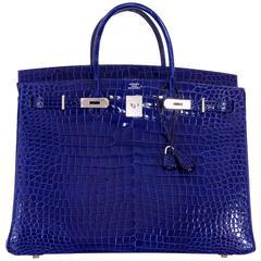 Hermes Birkin Bag 40cm Blue Electric Porosus Crocodile IMPOSSIBLE FIND!