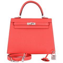 Hermes Kelly 25cm Sellier Rose Jaipur Pink Red Shoulder Bag Gold PHW