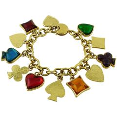 Yves Saint Laurent YSL Vintage Rare Gambler Charm Bracelet