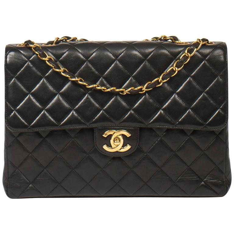 Chanel Jumbo Black Leather For Sale