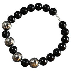 Striking Black Onyx and Sterling Bead Necklace and Earrings Taxco