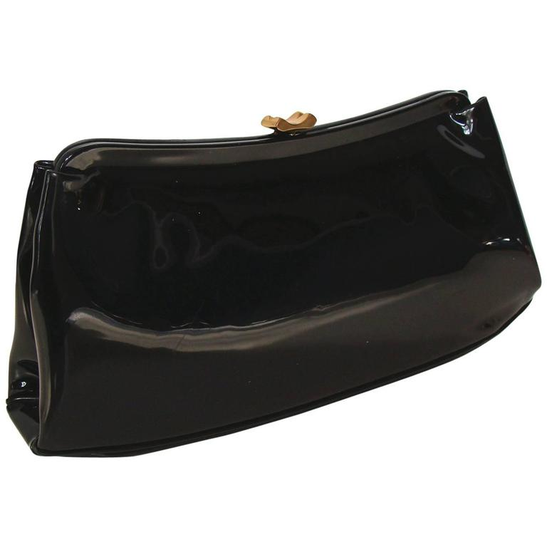 Spring!   Black Patent Clutch with Polka Dots Lining
