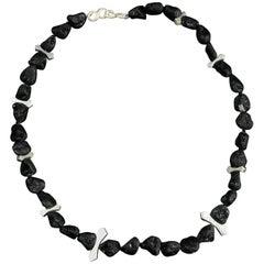 Natural Black Lava Nugget Sterling Silver Necklace Estate Find