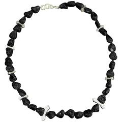 Natural Black Lava Nugget and Sterling Silver Necklace with Spider Enhancer Pin