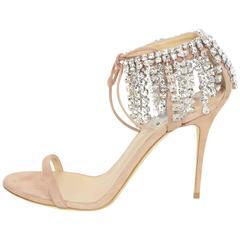 Giuseppe Zanotti Blush Suede Mistico Sandals w/ Crystals Sz 39.5 rt. $1,250