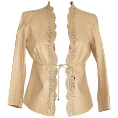 GUCCI Jacket Nude Leather Laser Cut Edging 3/4 Sleeve Empire Waist 40 / 6
