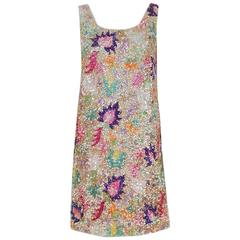 1968 Marbel Couture Colorful Beaded Sequin Floral Sleeveless Mod Cocktail Dress