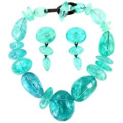 Vintage Monies Gerda Lynggaard Heavy Crackled Ice Necklace and Earrings