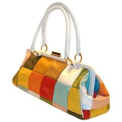 Oversized Color Block Satchel with Double Handles
