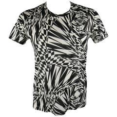 VERSACE Size L Black & White Geometric Medusa Print Sheer Cotton T-shirt