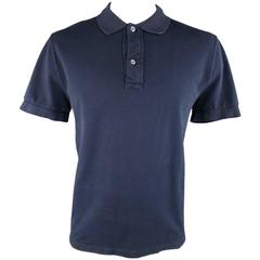 TOM FORD Size XL Navy Solid Cotton Pique Polo