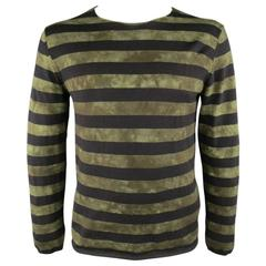 COMME des GARCONS BLACK Size XL Olive & Black Tie Dye Striped Wool Pullover