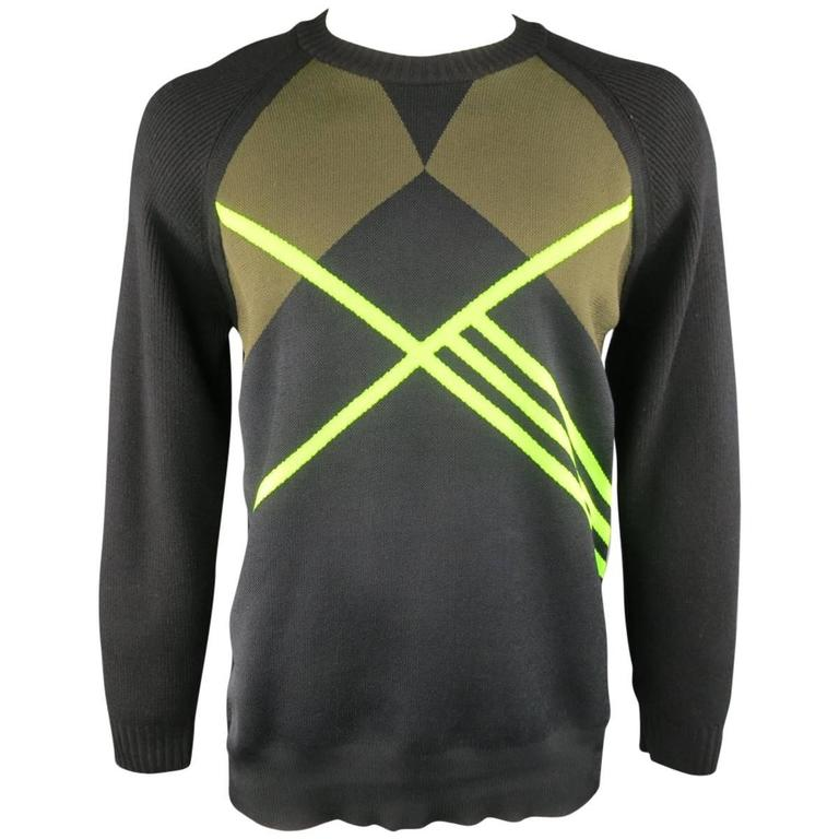 Y-3 by YOHJI YAMAMOTO Size L Black Olive & Green Geometric Striped Wool Sweater