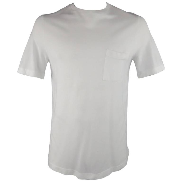 HERMES Size XL White Pique Ebroidered Emblem Ras du Cou Pocket T-shirt For Sale