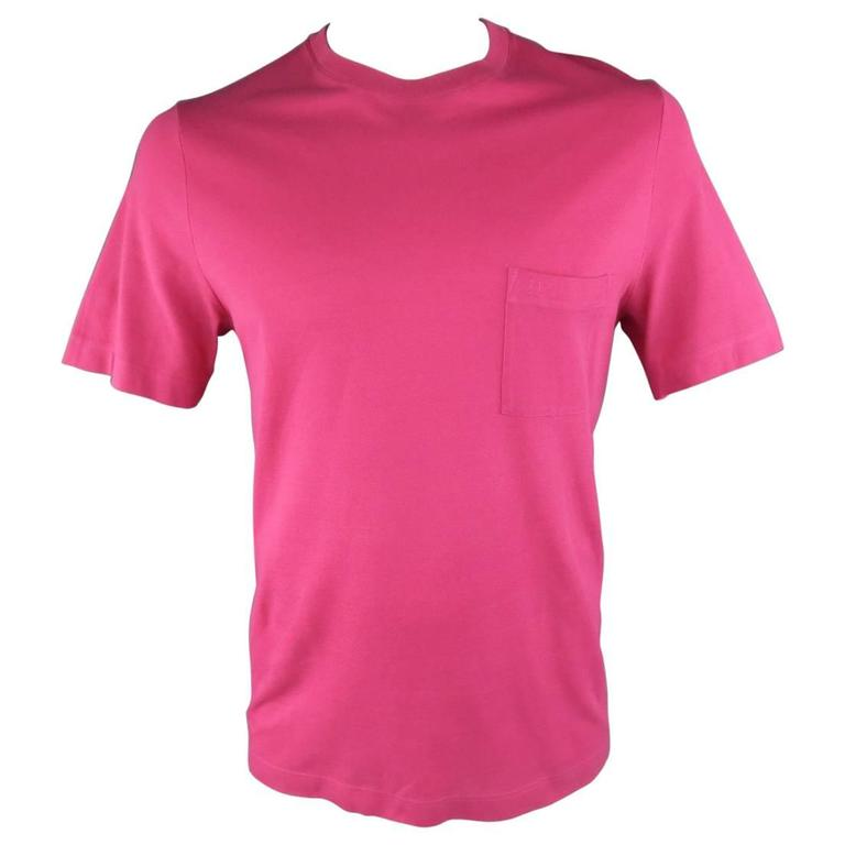 HERMES Size XL Pink Pique Ebroidered Emblem Ras du Cou Pocket T-shirt For Sale