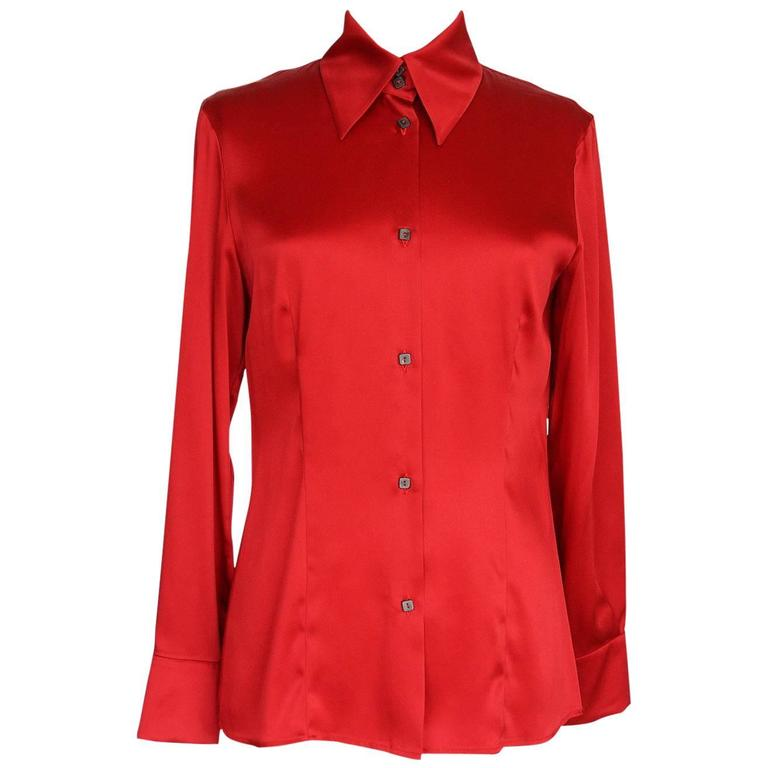 Gianfranco Ferre Top Jewel Chinese Red Blouse Unique Buttons 42 / 6 For Sale