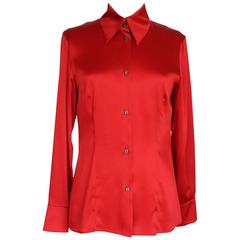 GIANFRANCO FERRE Top Jewel Chinese Red Blouse Unique Buttons 42 / 6