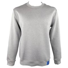 RAF SIMONS L Heather Grey Cotton Blend Neoprene ARCHIVES Pullover Sweatshirt