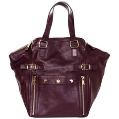 Yves Saint Laurent Burgundy Leather Large Downtown Tote Bag
