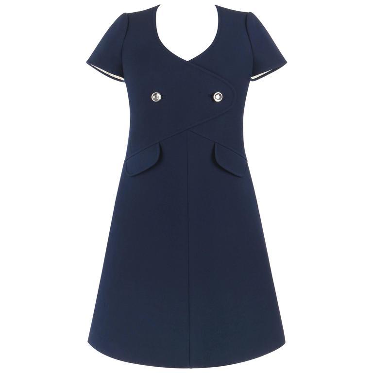 COURREGES Paris c.1960's Navy Blue Wool Mod A-Line Dress For Sale