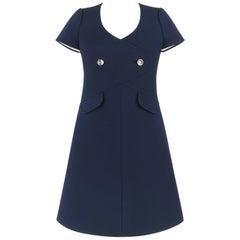 COURREGES Paris c.1960's Navy Blue Wool Mod A-Line Dress