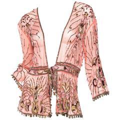 Roberto Cavalli Edwardian Style Sheer Net Beaded Jacket