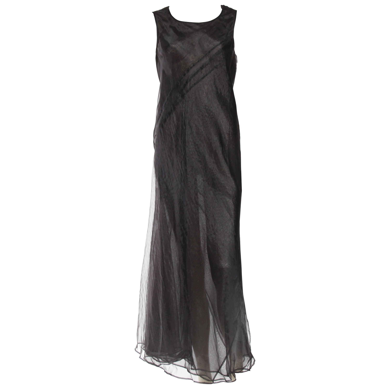 1990S JIL SANDER Black Bias Cut Polyester Organza Sheer Layered Minimal Gown