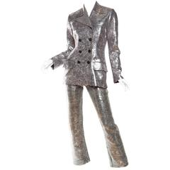 Richard Tyler Silver Sequined Suit