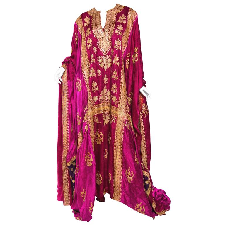 Phenomenal Trained Silk Caftan With Elaborate Metal Embroidery Kaftan