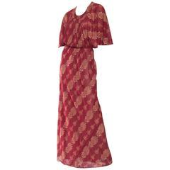 1970s Italian Silk Chiffon Boho Dress