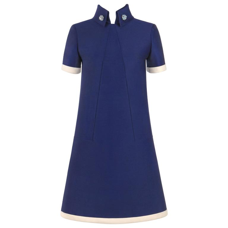 JEAN PATOU c.1960's KARL LAGERFELD Blue Wool A-Line Shift Dress Crystal Detail