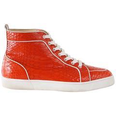 Christian Louboutin Sneaker Men's Red Rantus Orlato Flat Snakeskin Crystal  43