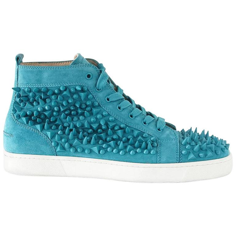 1cff20b4caf6 Christian Louboutin Sneakers Turquoise Louis Pik Pik Flat Suede 43.5   10.5  mint For Sale at 1stdibs