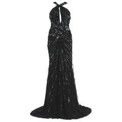 New Roberto Cavalli Feather Beads Embellished Silk-Chiffon Open Back Gown 40