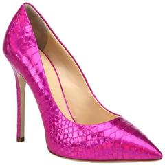 Giuseppe Zanotti NEW & SOLD Textured Snake Leather Hot Pink Pumps Heels in Box