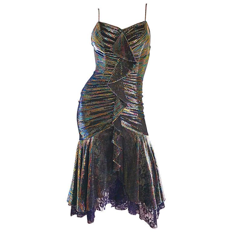 1970s Samir Rainbow Metallic Asymmetrical Lace Hem Vintage 70s Disco Dress