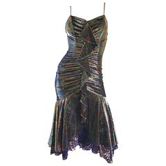 1970s Samir Rainbow Metallic Asymmetrical Lace Hem Vintage 70s Disco Dress