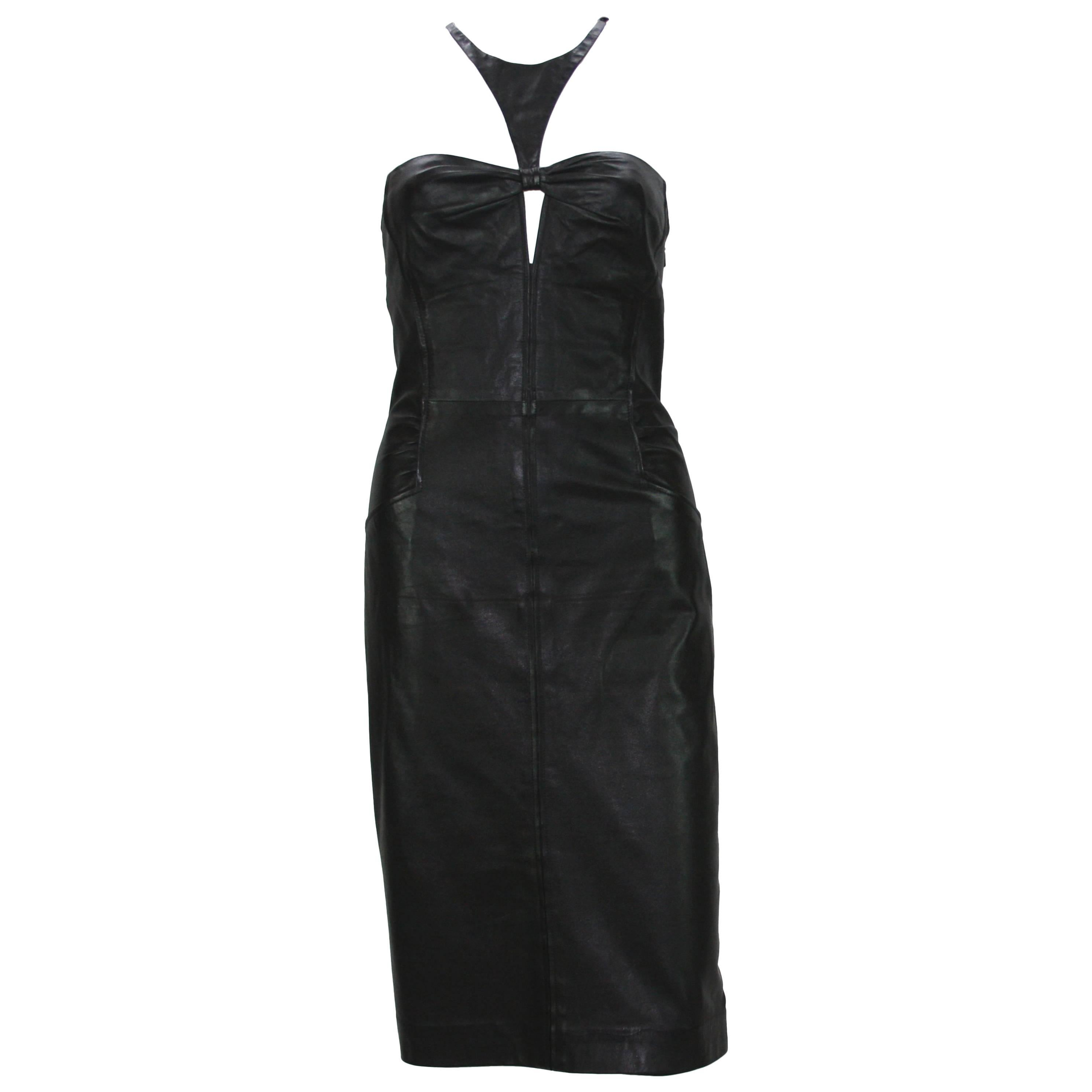 Tom Ford for Gucci 2004 Collection Black Leather Cocktail Dress It. 44 - US 8