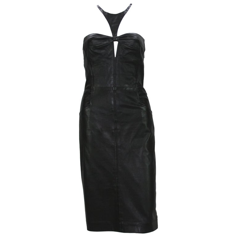 Tom Ford for Gucci 2004 Collection Black Leather Cocktail Dress It. 44 - US 8 For Sale