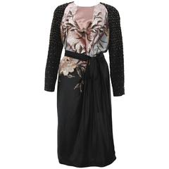 New Etro Beaded and Embroidered Belted Black Evening Dress