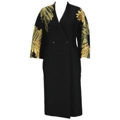 New GUCCI Runway Jacquard Wool Fern Motif Black Coat It. 40 - US 4/6